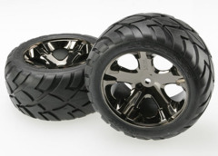 3773A Anaconda tires & All Star black chrome wheels, assembled, glued (with foam inserts) (electric rear) (1 left, 1 right)