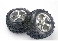 5374 Talon tires, Gemini chrome wheels, foam inserts (assembled, glued) (2)