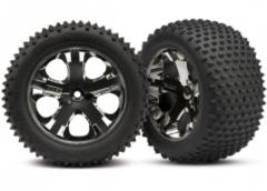 3770A Traxxas Alias tires, All Star black chrome wheels, foam inserts (assembled and glued) (rear) (2)