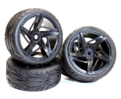 Type RK Complete Wheel & Tire Set (4) for 1/10 Touring Car C24999BLACK