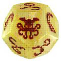 Cthulhu Dice: Bone with Red In