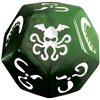 Cthulhu Dice: Ichor Green Die and White Ink