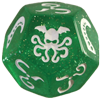 Cthulhu Dice: Sparkly Green Die and White Ink