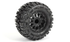 1170-14 TRENCHER 2.8 TRAXXAS STYLE BEAD ALL TERRAIN TIRES MOUNTED ON F-11 BLACK WHEELS (2)