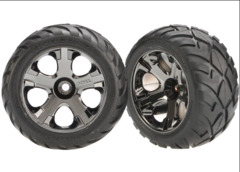 3777A Anaconda Tires & All-Star black chrome wheels, assembled, glued (with foam inserts) (nitro front) (1 left, 1 right)