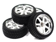 7 Spoke Complete Wheel & Tire Set (4) for 1/10 Touring Car C23437WHITE