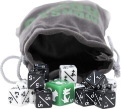 16x Dice Counters, +1/+1 and -1/-1 for Magic The Gathering with dice bag 12mm