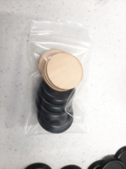 32mm 1inch Round Plastic Bases (5) and Wood Bases (5), Repack