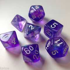 Borealis Purple/White Polyhedral 7-Die Set