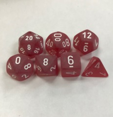 Chessex Frosted Red/White Polyhedral 7-Die Set