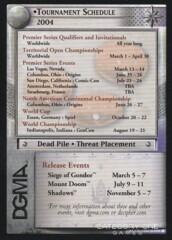 Tournament Schedule 2004 DGMA Card (3 Dates)