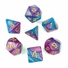 Blue Bright Purple 7 Die Dice Set (C19)