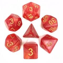 Red Pearl Golden Font 7 Die Dice Set (D31)