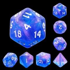 Blue Purple Galaxy 7 Die Dice Set A34