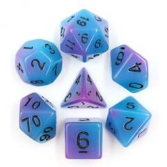 Blue Purple Glow 7 Die Dice Set (C25)