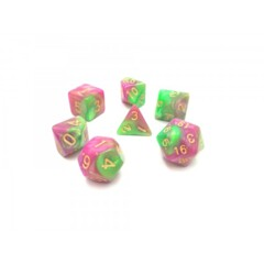 Rose Red Green Pearl Swirl 7 Die Dice Set (A24)