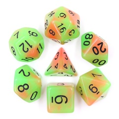 Orange Green Glow 7 Die Dice Set (C27)