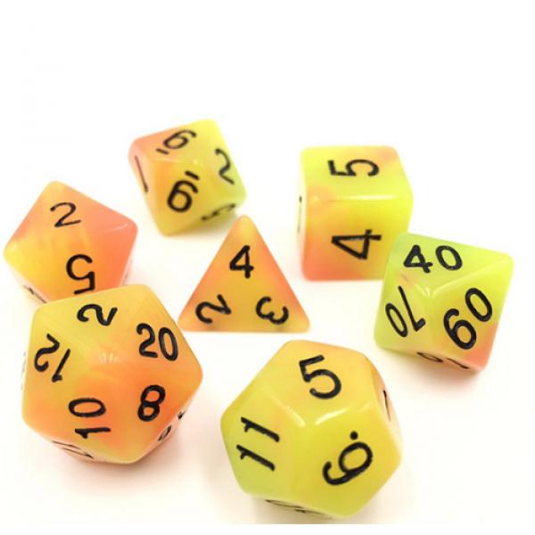 Orange Yellow Glow 7 Die Dice Set (C30)