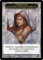 Emblem Elspeth, Knight-Errant // Soldier Token  (Double-Faced) on Channel Fireball