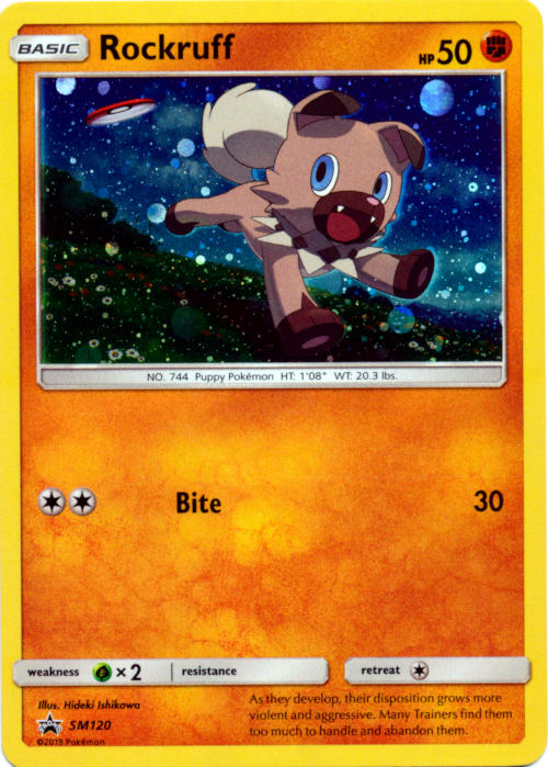 Rockruff SM120 Cosmos Holo Promo - Forbidden Light Single Pack Blisters