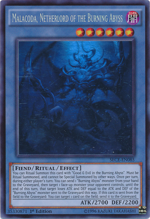 Malacoda, Netherlord of the Burning Abyss - SECE-EN085 - Ghost Rare - Unlimited Edition
