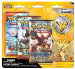 Pokemon Legendary Birds 3-Booster Blister Pack - Zapdos Pin
