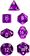 Chessex Dice CHX 23077 Translucent Polyhedral Purple w/ White Set of 7