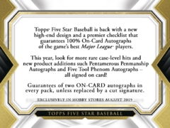 2019 Topps Five Star MLB Baseball Hobby Box