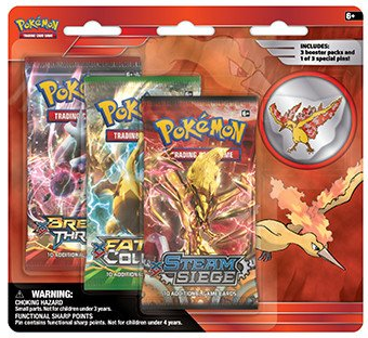 Pokemon Legendary Birds 3-Booster Blister Pack - Moltres Pin