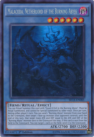 Malacoda, Netherlord of the Burning Abyss - SECE-EN085 - Ghost Rare - 1st Edition