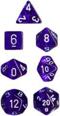 Chessex Dice CHX 23076 Translucent Polyhedral Blue w/ White Set of 7