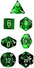 Chessex Dice CHX 23075 Translucent Polyhedral Green w/ White Set of 7