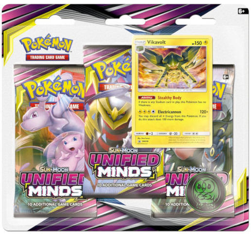 Pokemon Sun & Moon SM11 Unified Minds 3-Booster Blister Pack: Vikavolt Promo