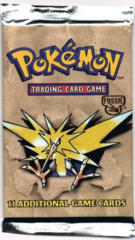 Pokemon Fossil Unlimited Booster Pack - Zapdos Artwork - LONG PACK