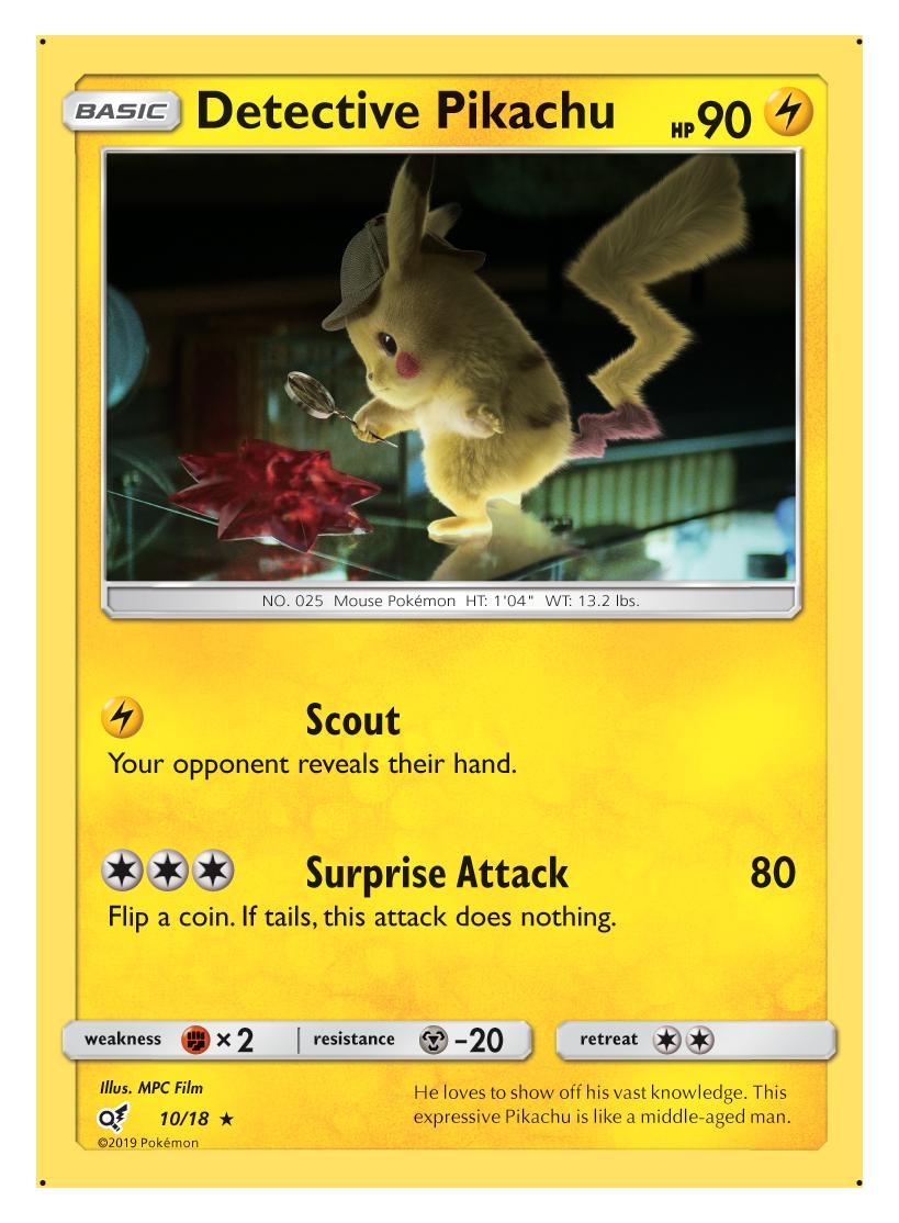Detective Pikachu 10 18 Holo Rare Pokemon Card Singles