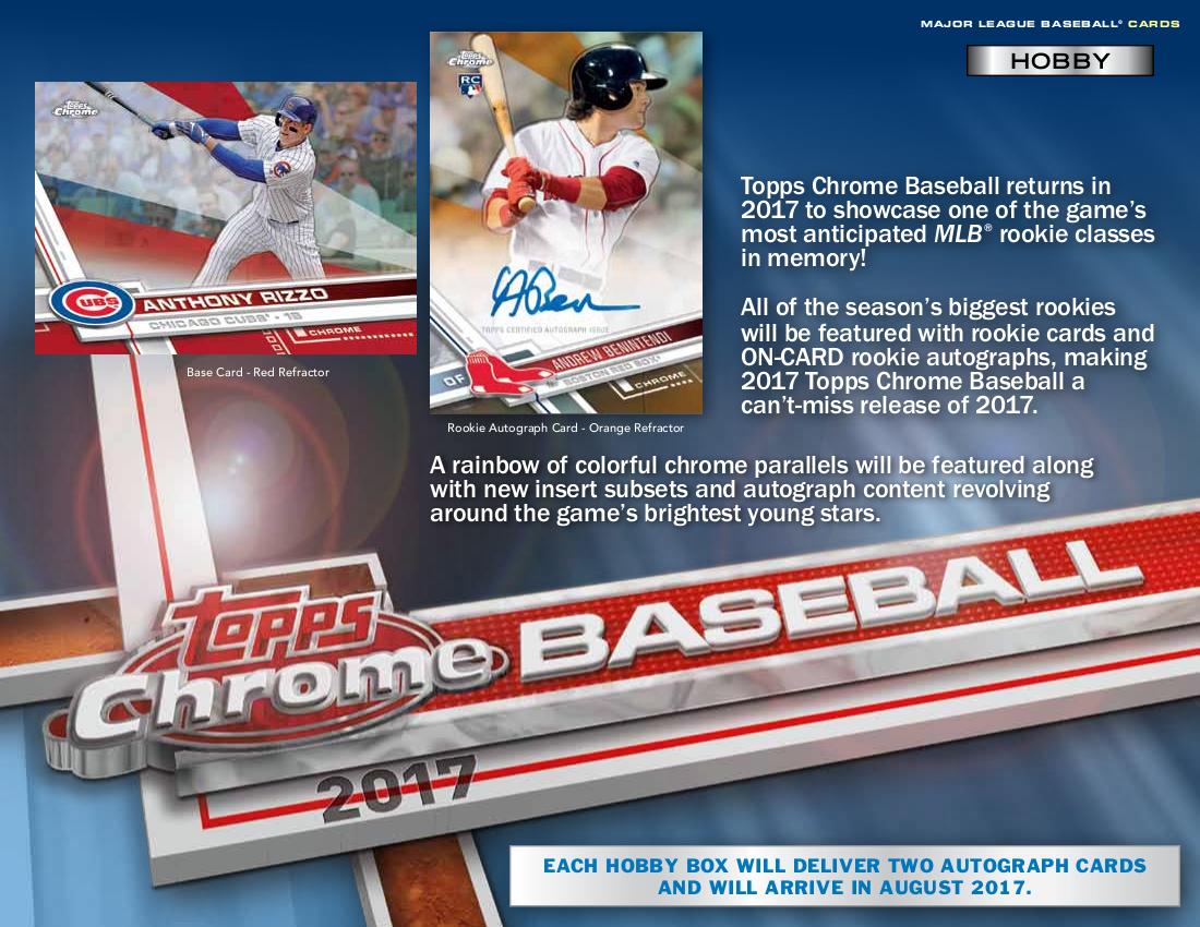 2017 Topps Chrome Mlb Baseball Hobby Box Sports Cards