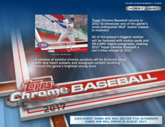 2017 Topps Chrome MLB Baseball Hobby JUMBO Box