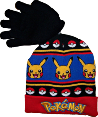 Pokemon Pikachu Knit Hat & Gloves Set