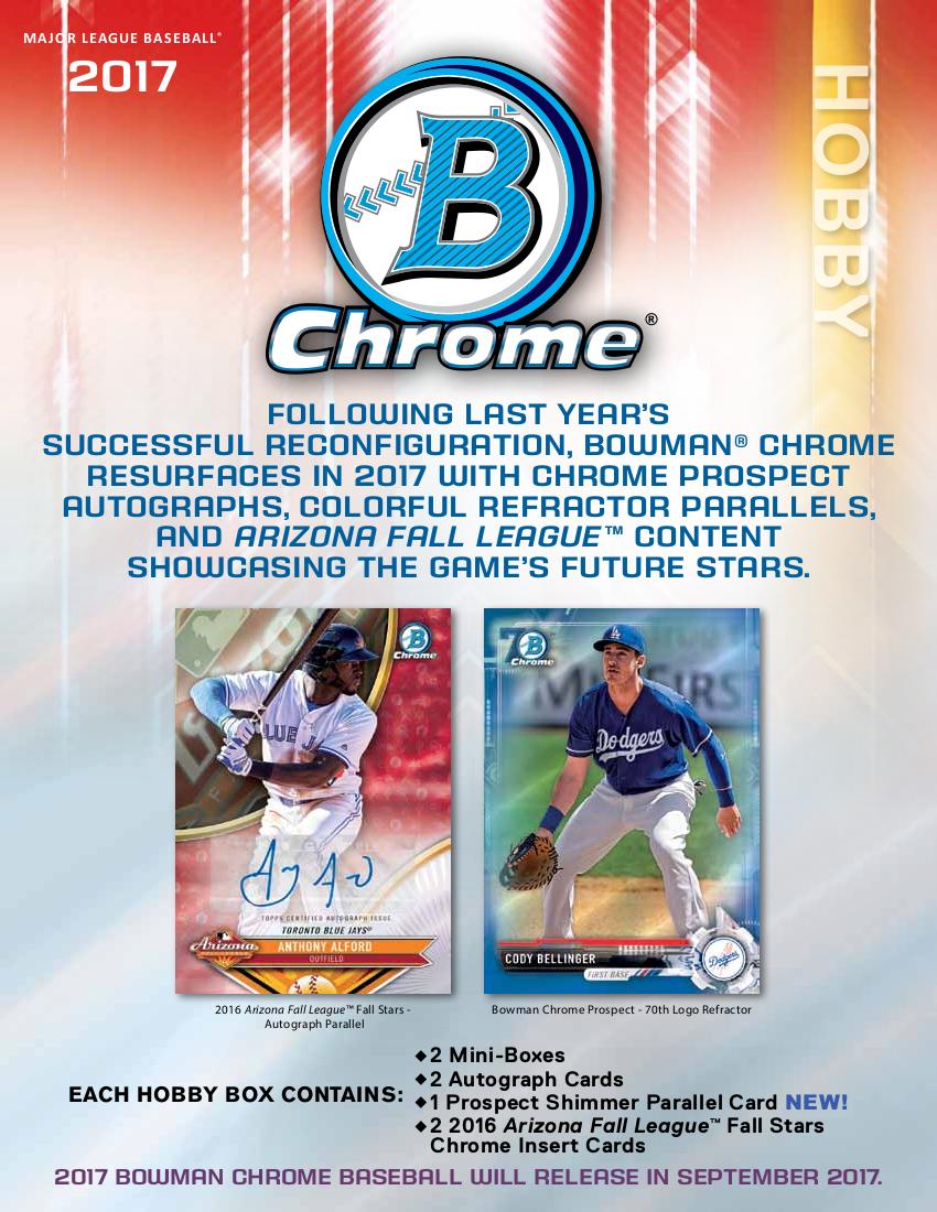 2017 Bowman Chrome Mlb Hobby Box Sports Cards Trading