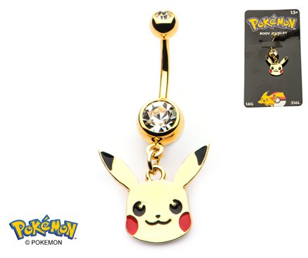 Pikachu Head 14-Gauge 7/16 Navel Dangle - Gold Plated