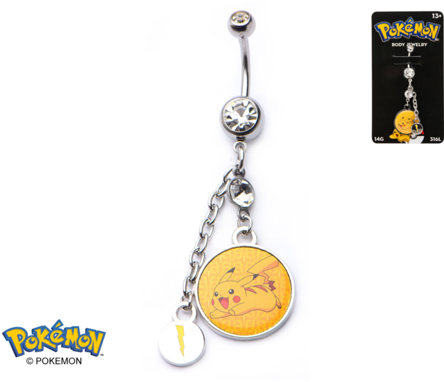 Pikachu Charm 14-Gauge 3/8 Navel Dangle