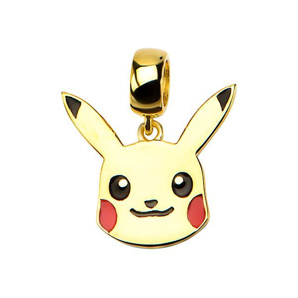 Pikachu Head Sterling Silver Dangle Charm - Gold Plated