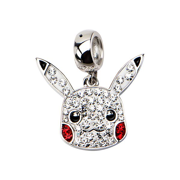Pikachu Head Crystal & Sterling Silver Dangle Charm