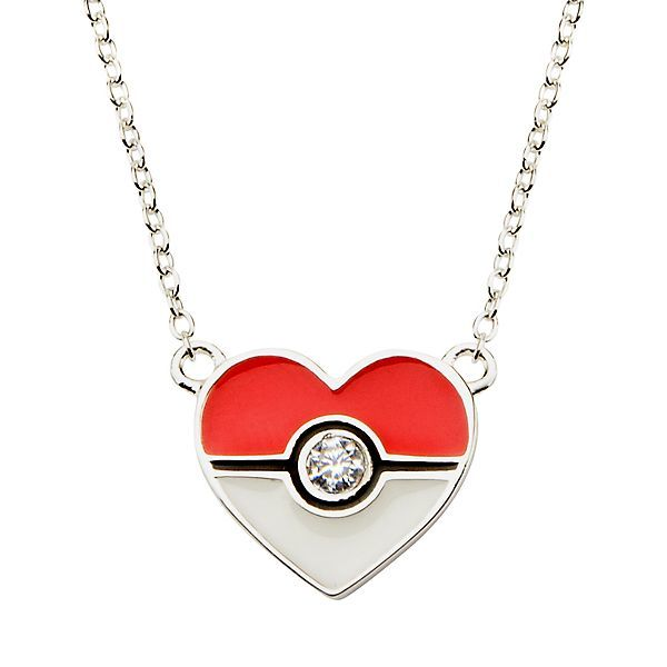 Pokeball Sterling Silver Heart Pendant 18 Chain Necklace