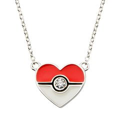 Pokeball Sterling Silver Heart Pendant 18