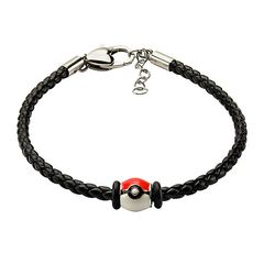 Pokeball Black Leather Bracelet
