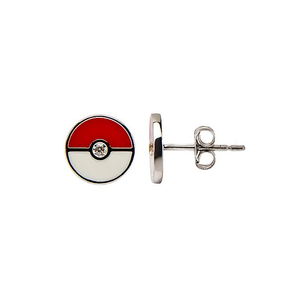Pokeball Sterling Silver Stud Earrings
