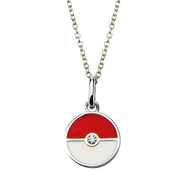 Pokeball Sterling Silver Pendant 18 Chain Necklace