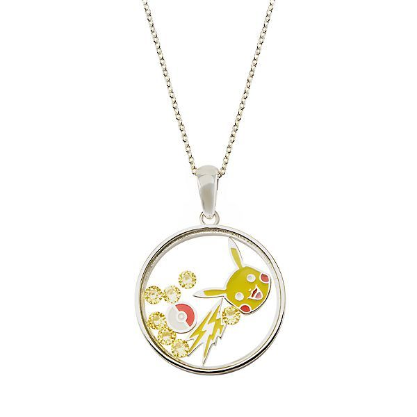 Pikachu Sterling Silver Disc Pendant 18 Chain Necklace