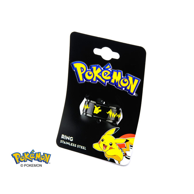Pikachu Black Ion-Plated Stainless Steel Spinner Ring - Size 10